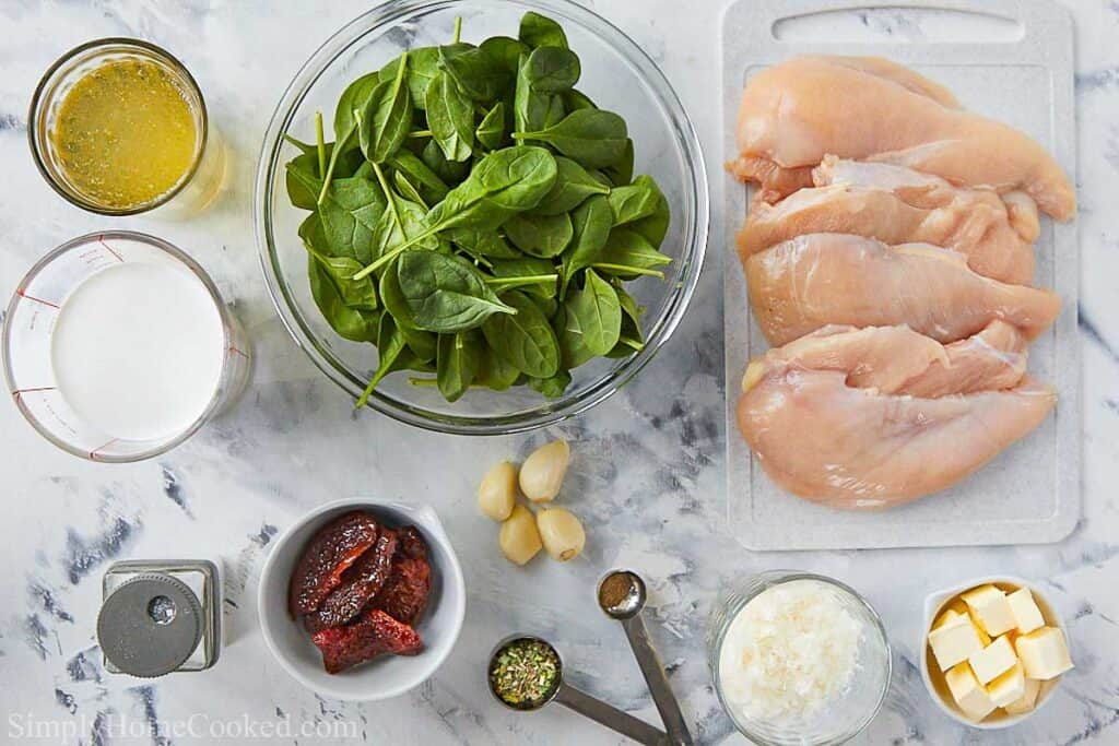 overhead image of tuscan chicken ingredients