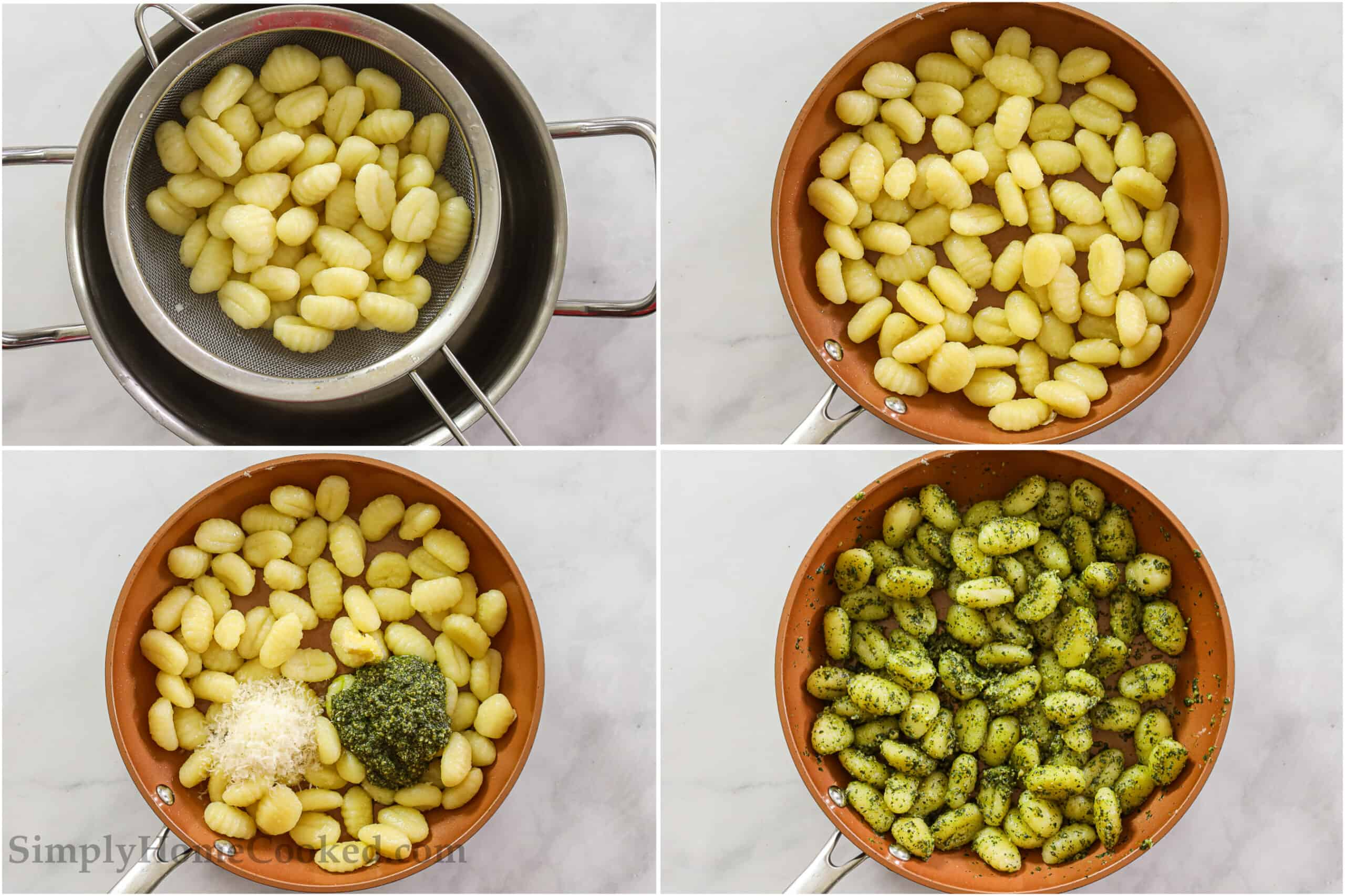 Steps to make Pesto Gnocchi, including cooking the gnocchi and draining the water, pan-frying the gnocchi in a skillet, and then adding the Parmesan, basil pesto, garlic, salt, and pepper, and mixing well.