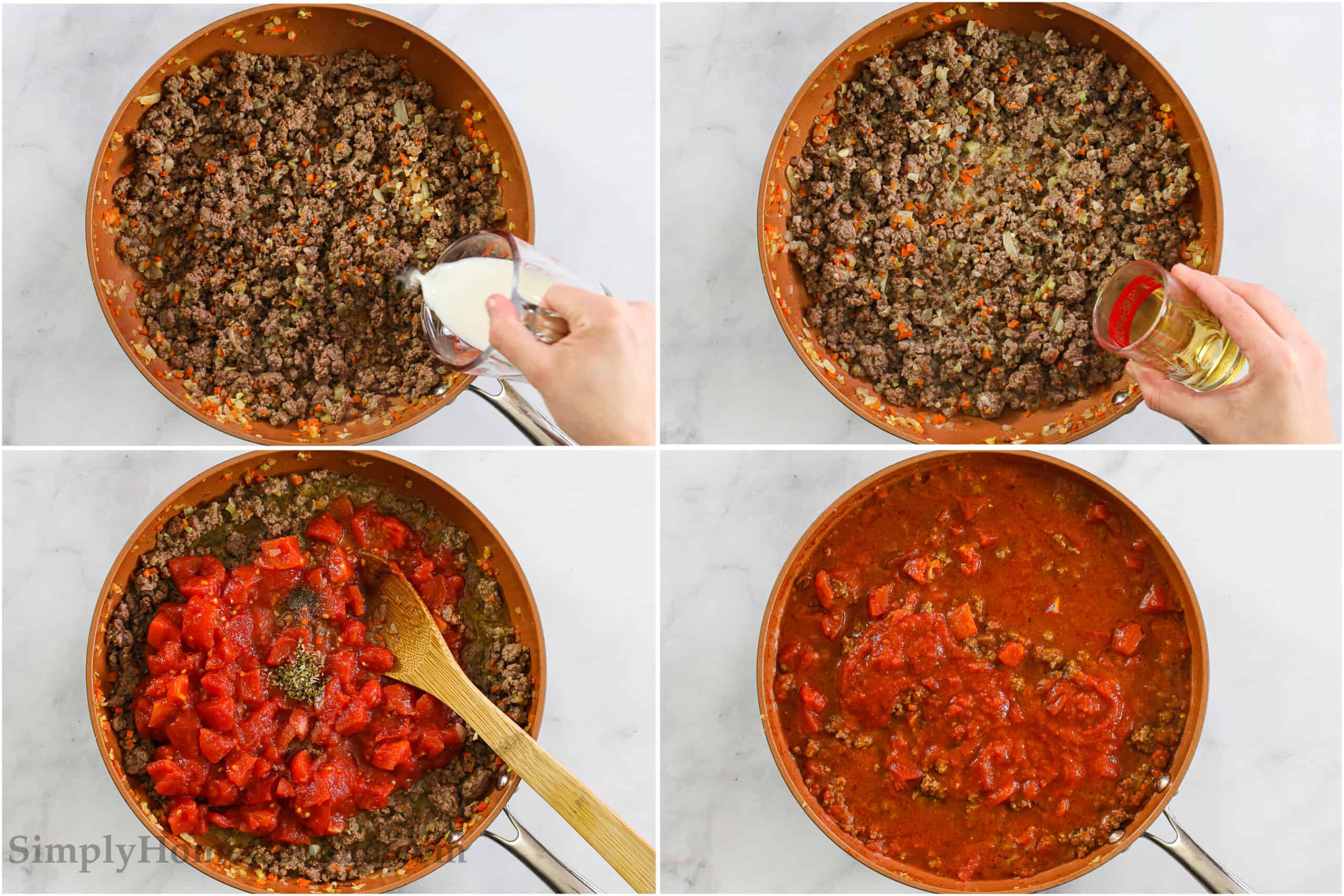 Steps for making Rigatoni Bolognese, including adding milk and white wine to the ground beef mixture, then adding the tomatoes and seasonings, and stirring it all together.