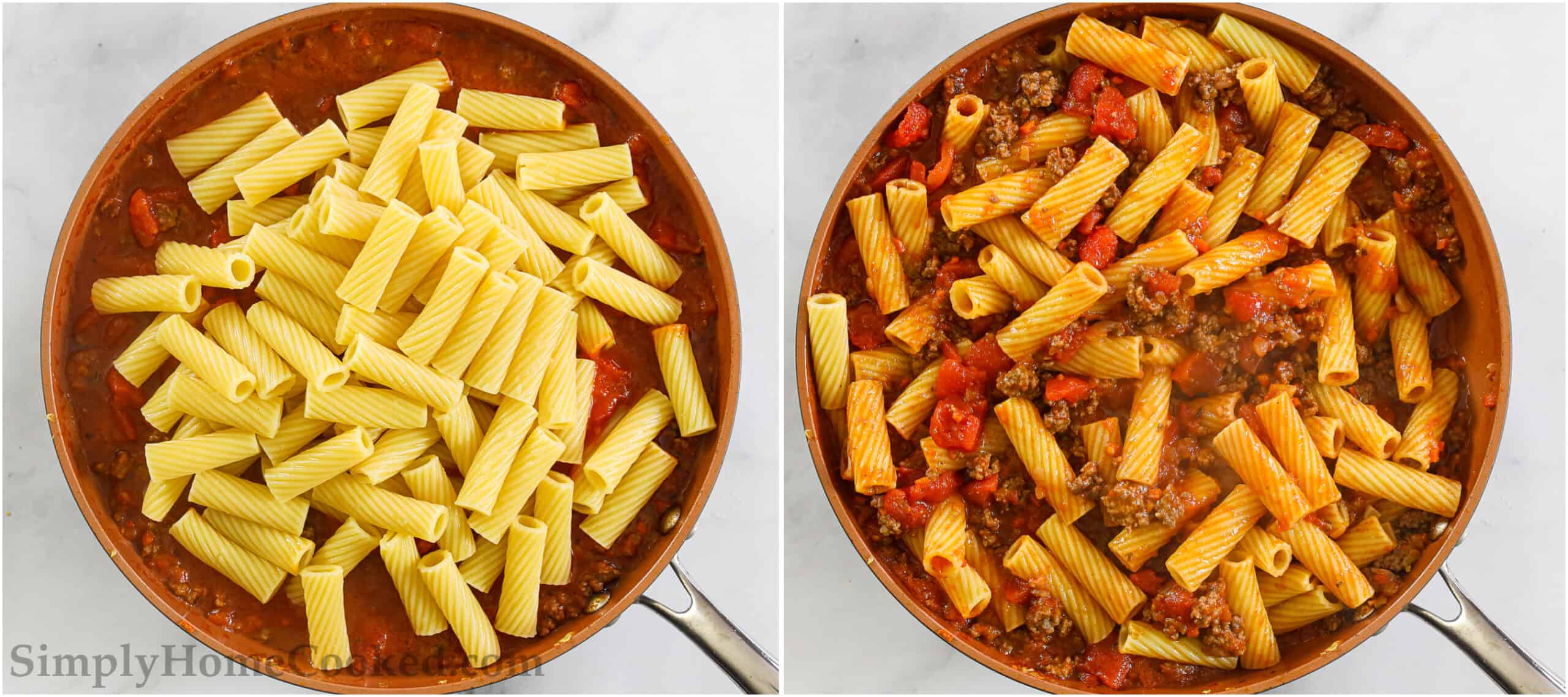Steps to make Rigatoni Bolognese, including mixing the meat sauce with the pasta and sprinkling it with Parmesan cheese.