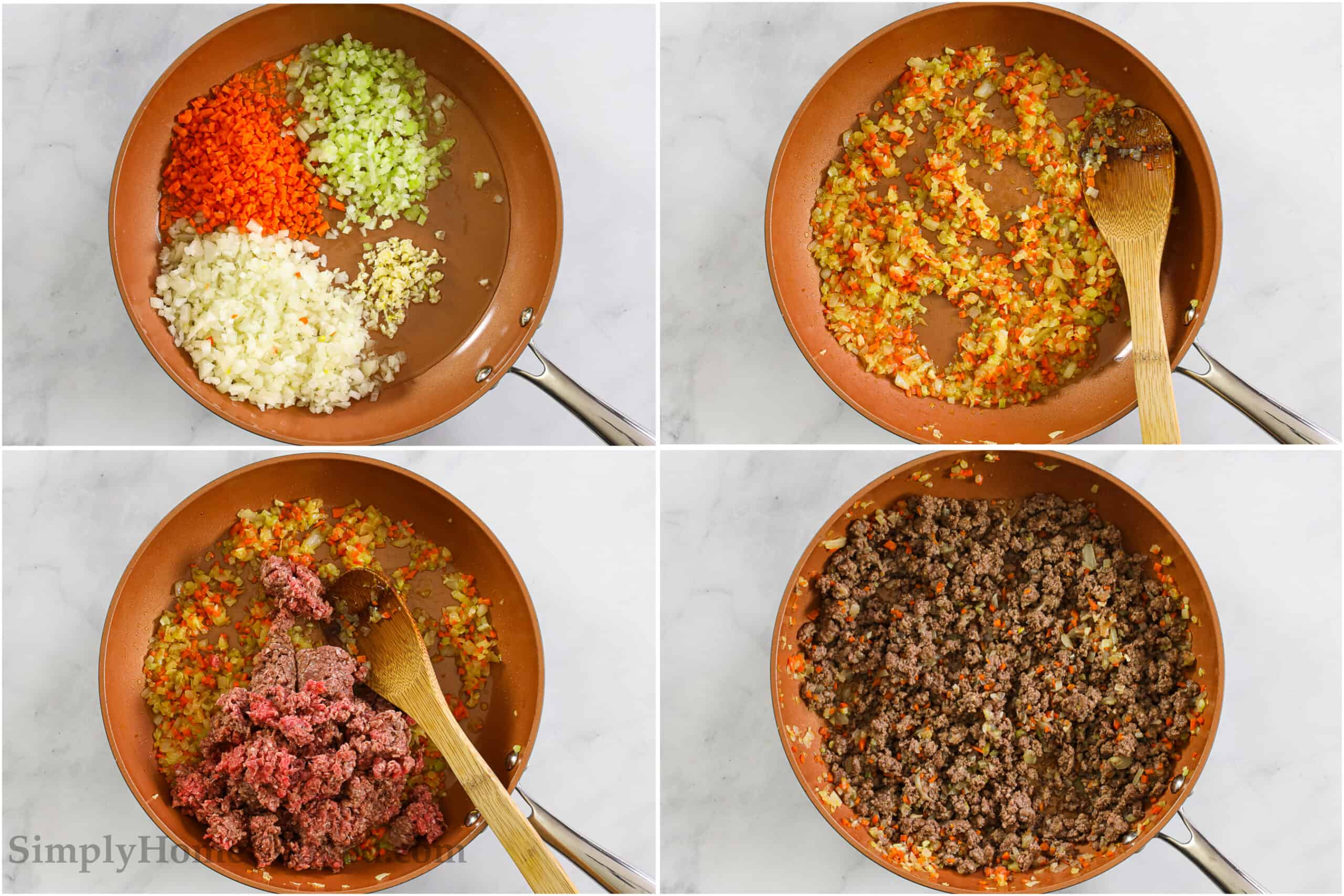 Steps to make Rigatoni Bolognese, including cooking the vegetables, then adding the ground beef, and stirring until it's browned.