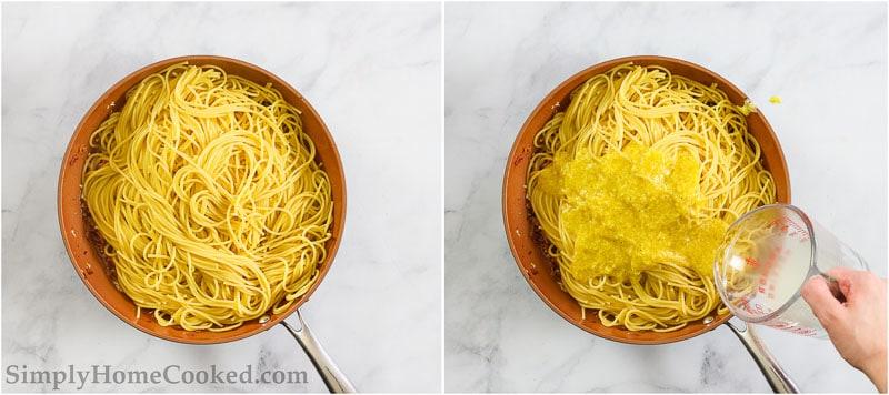 overhead image of steps to make spaghetti carbonara