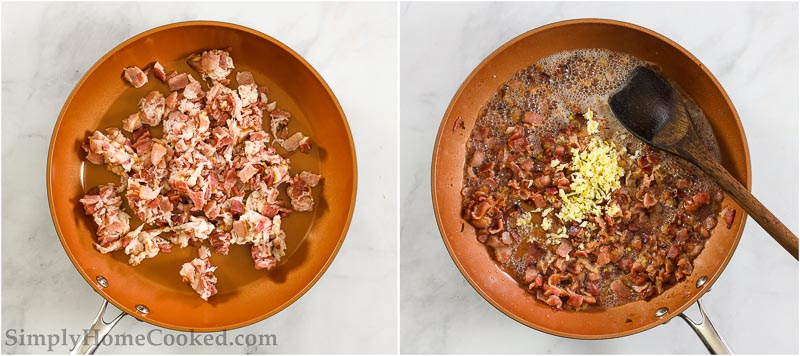 overhead image of bacon and garlic in a pan