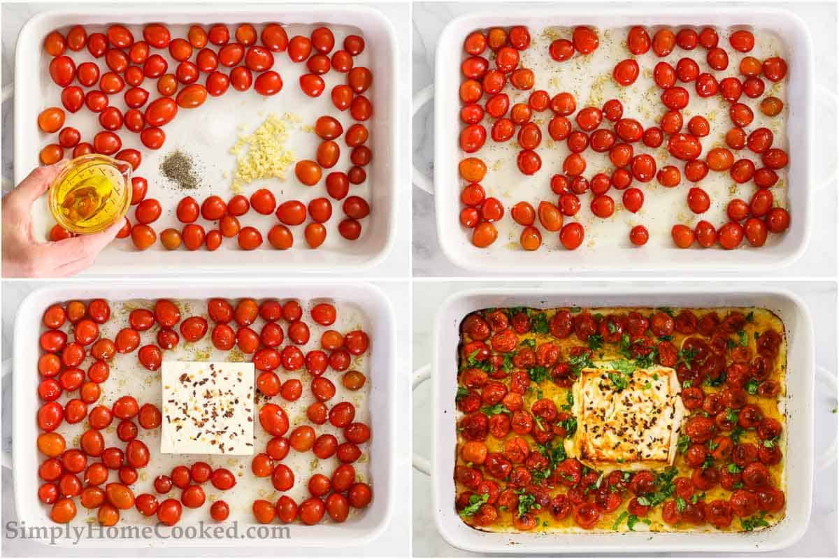Steps to make Baked Feta Pasta, including roasting the cherry tomatoes, salt, pepper, garlic, and feta cheese with red pepper flakes in a baking dish and then mixing in basil.