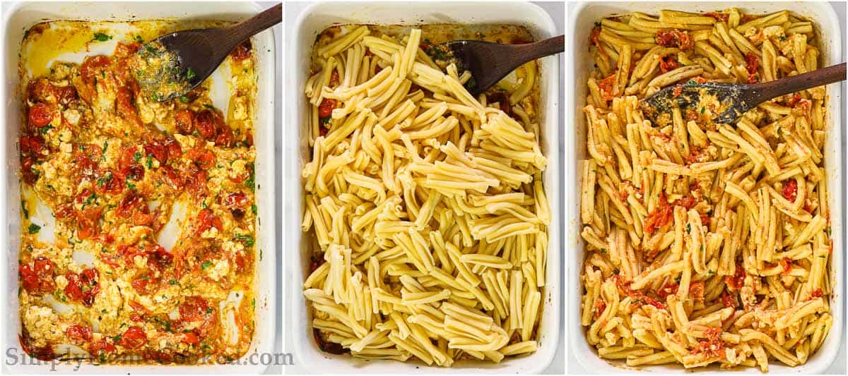 Steps to make Baked Feta Pasta, including mixing the roasted feta and tomatoes together before adding in the pasta, stirring it all together with a wooden spoon.