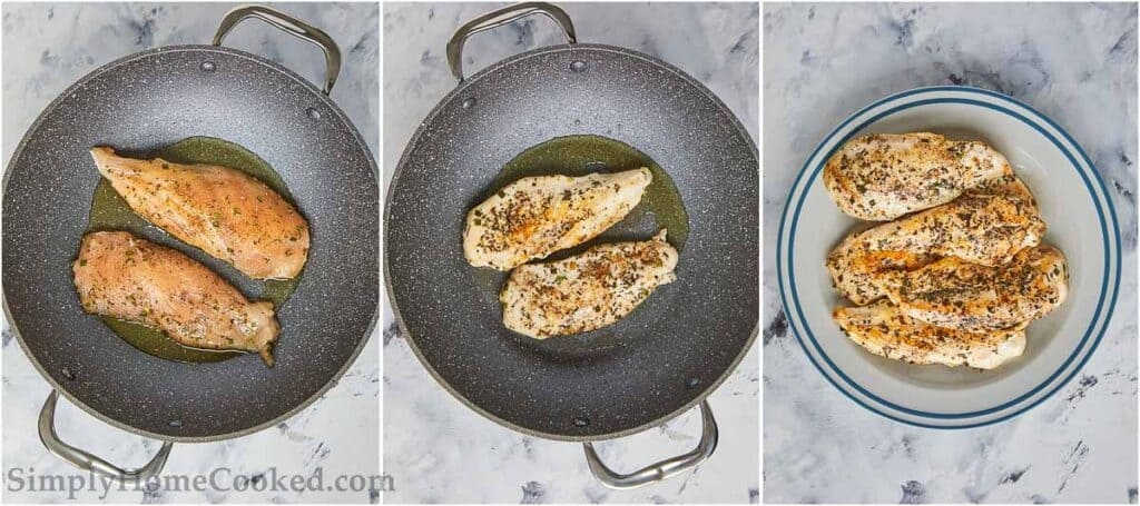 3 image collage of cooked chicken in a pan