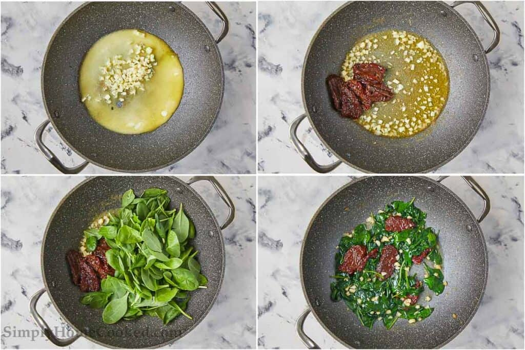 overhead image collage of butter, garlic, sun dried tomatoes and spinach in a pan