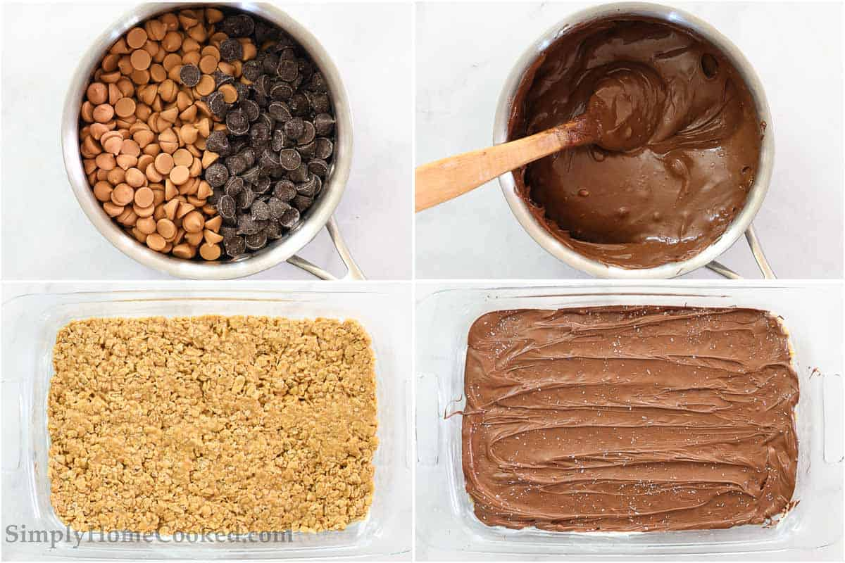 Steps to make Chewy Special K Bars, including melting the chocolate and butterscotch chips, mixing with a wooden spoon, and then pouring it over the pressed cereal mixture and topping with coarse sea salt.