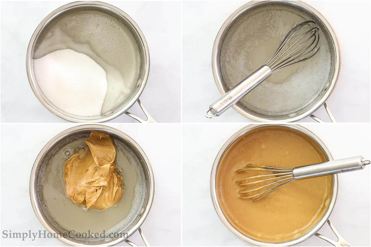 Steps to make Chewy Special K Bars, including boiling the sugar and corn syrup and then whisking in the peanut butter.