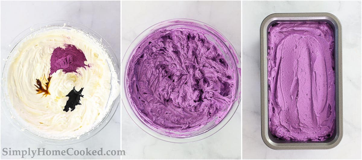 Steps for making Easy Ube Ice Cream, including adding ube flavor extract, vanilla extract, and ube powder to ice cream base and then mixing before placing in a loaf pan to freeze.