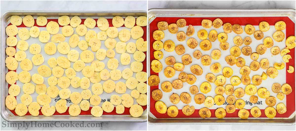 Steps for making Baked Plantain Chips, including laying the plantain slices on a baking sheet pan and cooking until golden and crispy.