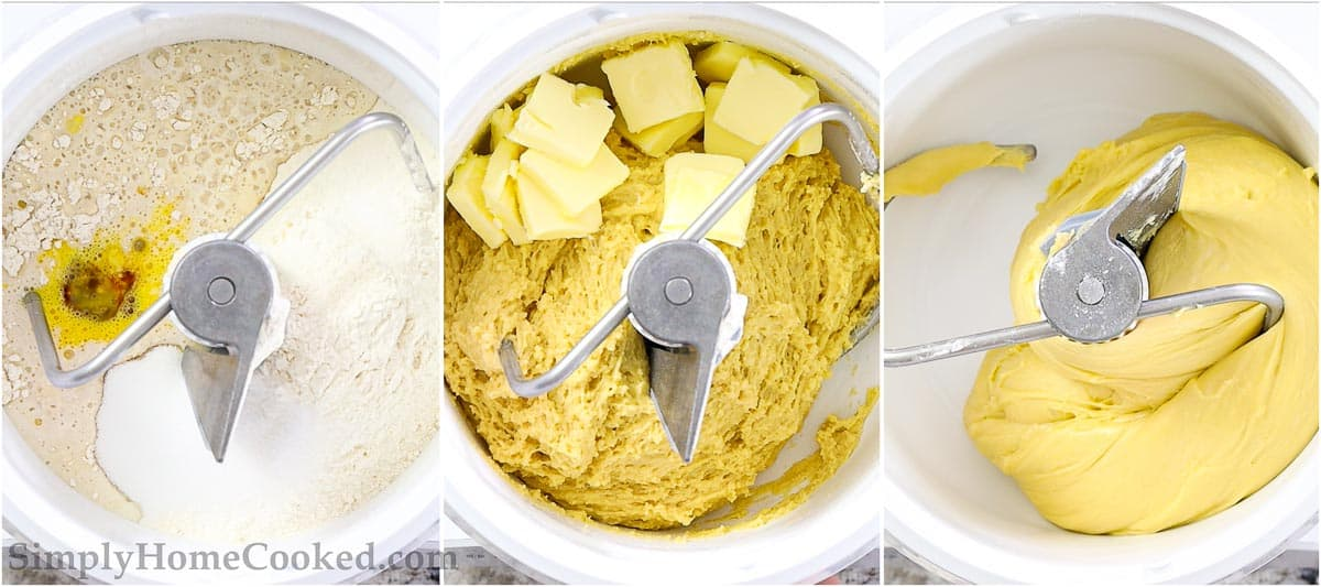 Steps to make Buttery Brioche Bread, including mixing together the ingredients and then adding the butter slices to a stand mixer, kneading the dough until smooth and elastic.