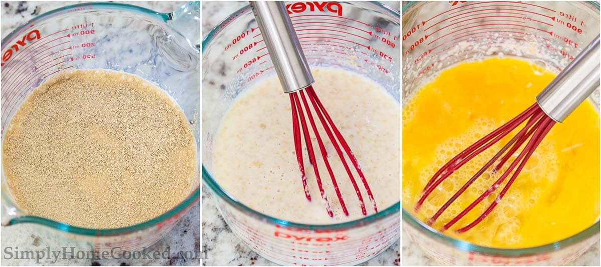 Steps to make Buttery Brioche Bread, including frothing the yeast mixture, whisking it, and then beating the eggs in a measuring cup.