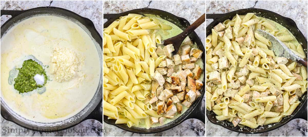 Steps to make Creamy Chicken Pesto Pasta, including adding the basil pesto and Parmesan cheese to the sauce before adding the cubed chicken and cooked penne pasta and stirring it all together with a wooden spoon.