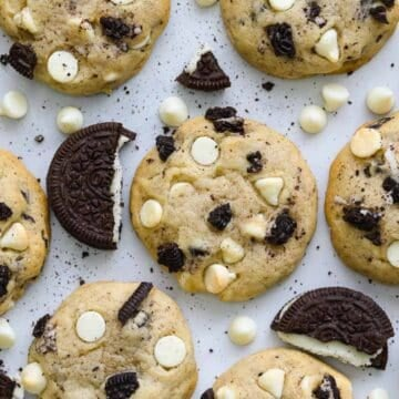 Cookies and Cream Cookies with pieces of Oreos and white chocolate chips.