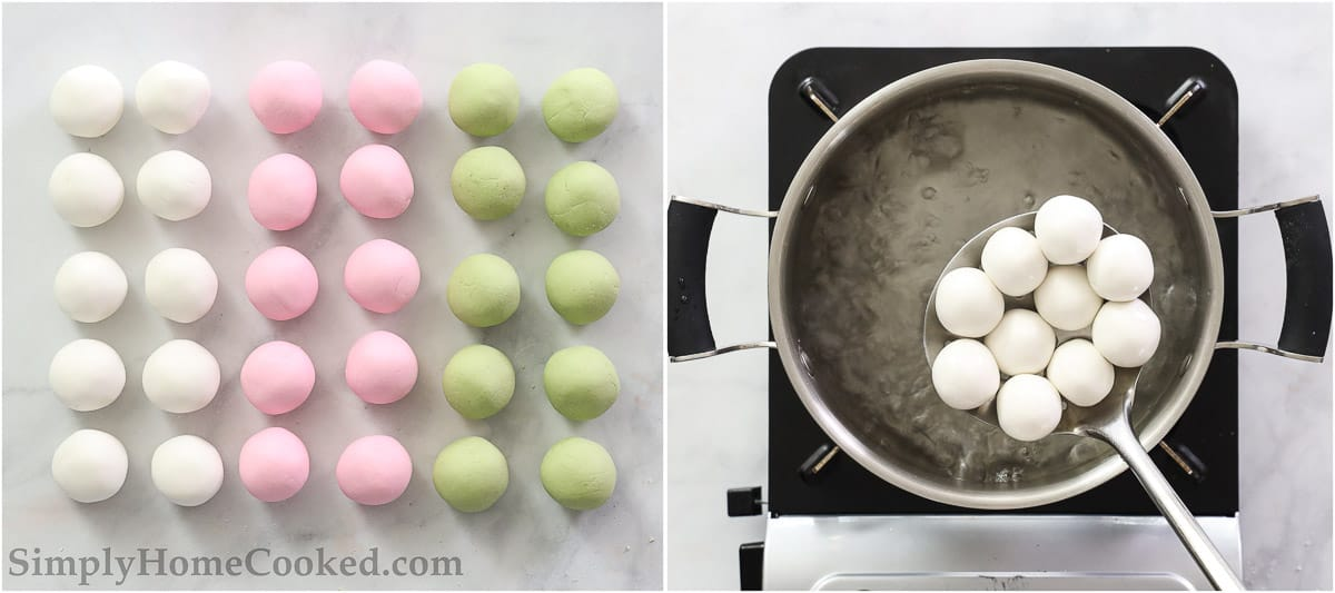 Steps to make Easy Hanami Dango, including rolling the dango dough into balls and then cooking them in a pot of boiling water.