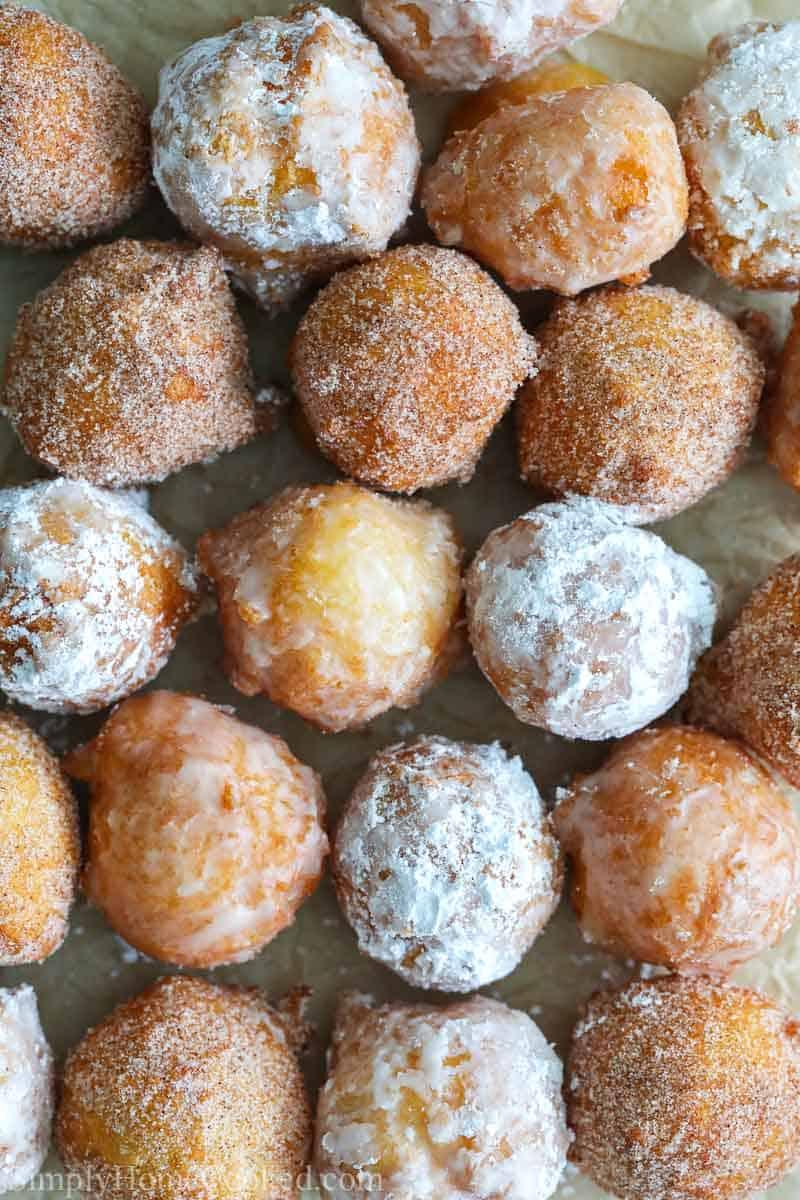 Homemade Donut Holes in 3 flavors - cinnamon sugar, glaze, and powdered sugar.