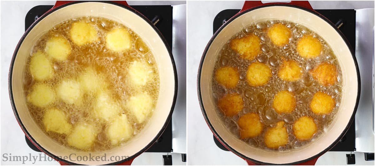 Steps for making Homemade Donut Holes, including frying the scoops of donut dough in hot oil until golden brown.