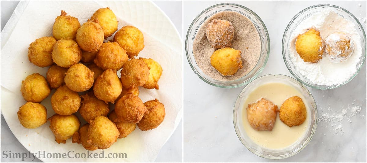 Steps for making Homemade Donut Holes, including letting the donut holes cool on paper towels to absorb excess oil and then rolling and dipping them in the 3 flavors.