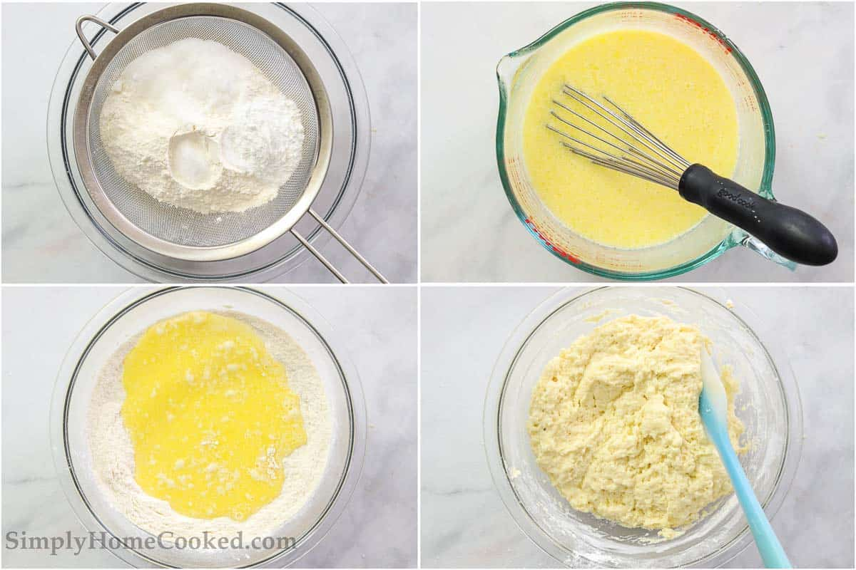 Steps for making Homemade Donut Holes, including sifting the dry ingredients into a bowl, whisking the wet ingredients into a measuring cup, then mixing them together in the bowl with a spatula.