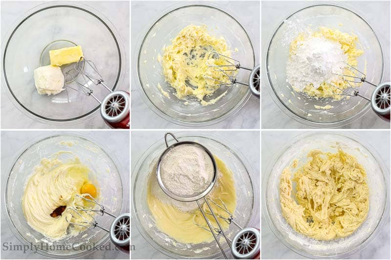 Steps to make Easy Cream Cheese Cookies, including creaming the butter and cream cheese, then adding the sugar, egg, and vanilla, and then mixing in the rest of the dry ingredients.