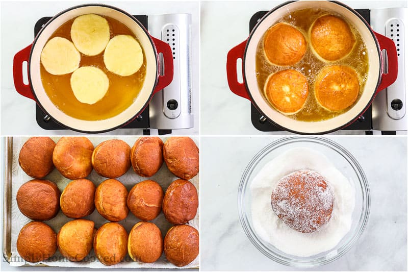 Steps to make Perfect Sugar Donuts, including frying the donuts in oil, then letting them cool before covering them in sugar.