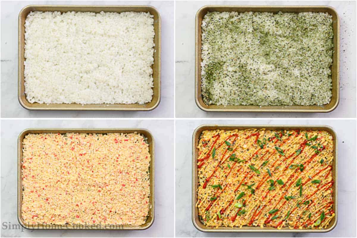 Steps to make Easy Sushi Bake, including compressing the rice, adding furikake, then the crab filling and last spicy mayo with chopped green onions.