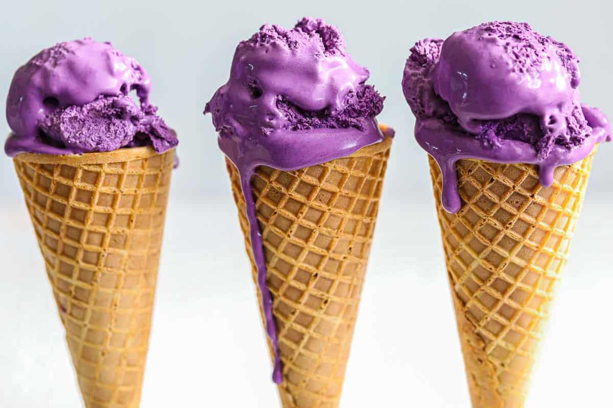 3 Ube Ice Cream cones