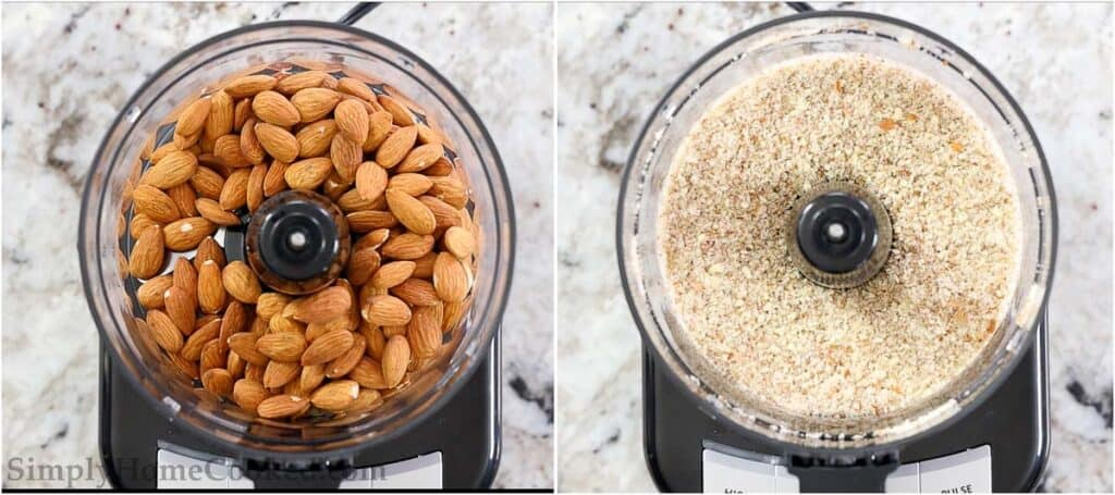 overhead image of almonds in a food processor