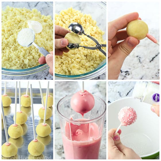 a step by step collage on how to make cake pops at home