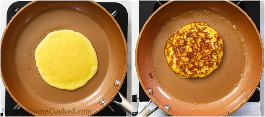 Steps to make Almond Flour Pancakes, including cooking the batter on a skillet until browned.