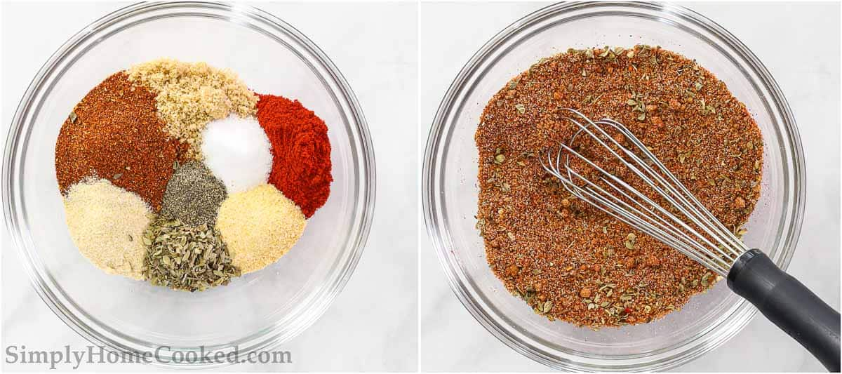 Steps to make Smoked Chicken Breast, including making the spice rub and whisking it together.