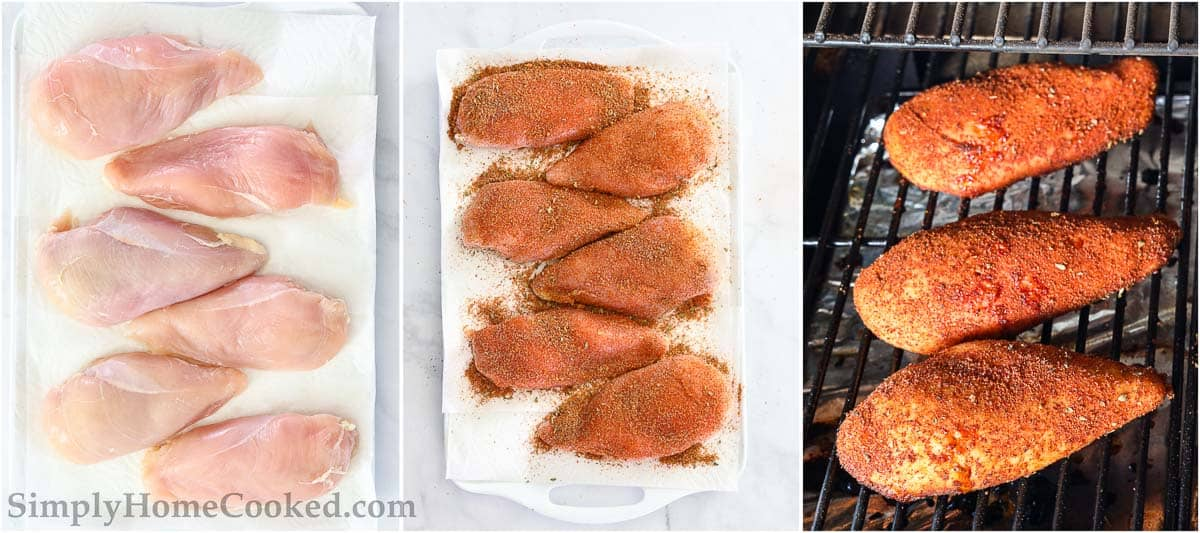 Steps to make Smoked Chicken Breast, including patting the chicken dry, seasoning it, and then smoking it.