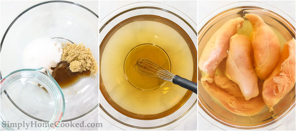 Steps to make Smoked Chicken Breast, including making the brine nd adding the chicken breasts it, fully submerged.