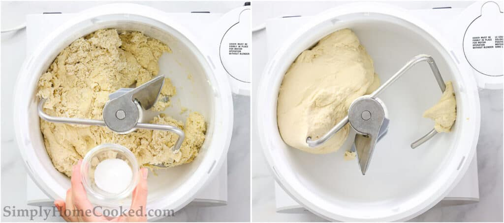 Steps to make Sourdough Bagels, including adding the salt and mixing the dough until it's smooth and elastic.
