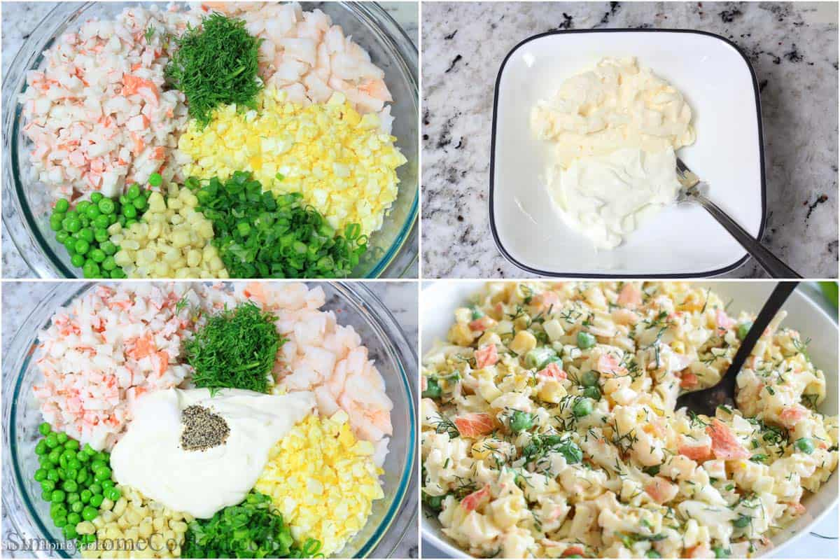 Steps to make Crab Salad, including chopping up the ingredients, adding them together with the dressing and mixing.